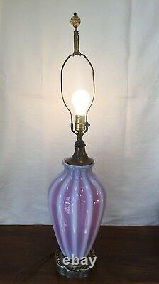 Vintage Mid-Century Venetian MURANO RED & WHITE Glass Table Lamp