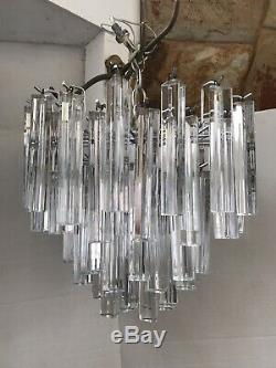 Vintage Mid Century Venini Italian Murano Glass Prism Tiered Chandelier