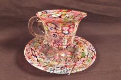 Vintage Millefiori Italian Archimede Seguso Murano Art Glass Cup & Saucer