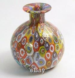 Vintage Millefiori Murano Gold Laced Italian Art Glass Vase Fratelli Toso 3.25