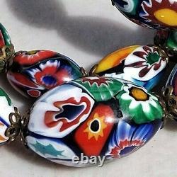 Vintage Millefiori Venetian Murano Glass Bead Ercole Moretti Bohemian Necklace