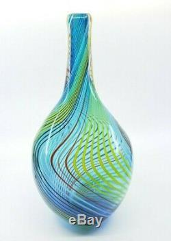 Vintage Modernist Murano Style Art Glass Vase Swirl Multi Color LARGE 15.5