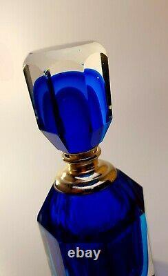 Vintage Murano 1980s Flavio Poli Rich Blue Glass Perfume Bottle Unique Art Piece