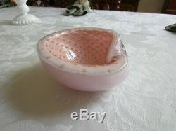 Vintage Murano Alfredo Barbini Bullicante Art Glass Bowl Pink Lavender Gold