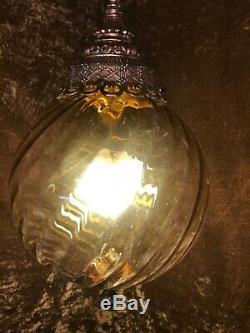 Vintage Murano Amber Swirled Glass Ball Swag Light Lamp 10 w /Cord & Chain