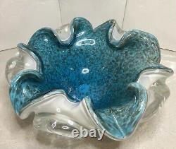 Vintage Murano Aqua/Blue/Silver with White Adventurine /Bullicante Glass Bowl