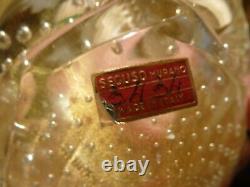 Vintage Murano Archimede Seguso 5 Gold Flecks Art Glass Bowl Bubbles Sticker