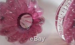 Vintage Murano Archimede Seguso Bullicante Glass Lamp 1950s / Controlled Bubble