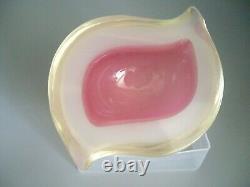 Vintage Murano Archimede Seguso triple cased opaline sommerso glass geode bowl