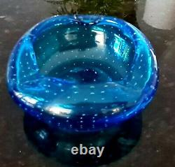 Vintage Murano Art Glass Ashtray blue controlled bubble Mid-Century. C1960s