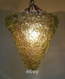 Vintage Murano Art Glass Barovier Toso Basket Pendant Ceiling Light Chandelier