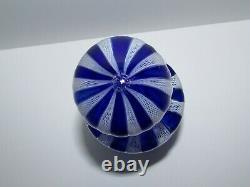 Vintage Murano Art Glass Blue and White Fratelli Toso Zanfirico Decanter 917