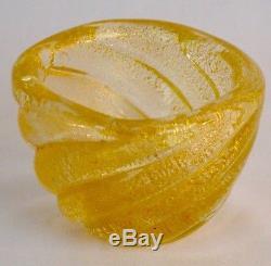 Vintage Murano Art Glass Gold Fleck Waterfall Swirl Small Bowl By Seguso
