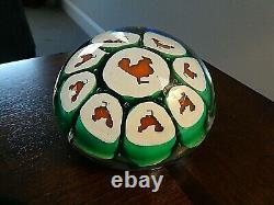 Vintage Murano Art Glass Large ROOSTER Cane Millefiori Paperweight