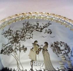 Vintage Murano Art Glass Mirror Vanity Tray Twisted Rope Edge Gold Flecks Handle