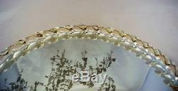 Vintage Murano Art Glass Mirror Vanity Tray Twisted Rope Edge Gold Flecks Handle