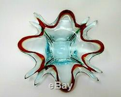 Vintage Murano Art Glass Ocean Blue & Red Centerpiece Bowl Mid-Century Modern