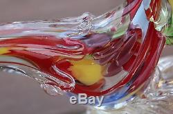 Vintage Murano Art Glass Rooster Or Pheasant, Multicolored, Hand Blown, Italy