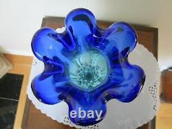 Vintage Murano Art Glass Vase Cobalt Blue Aqua Swirl Fluted Flavio PS Manner