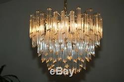 Vintage Murano Art Prism Glass & Brass Venini 5 Tier Chandelier