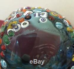 Vintage Murano Blue Glass Raised Millefiori Italian Art Vase/Bowl/Dish Signed
