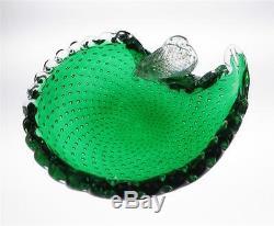 Vintage Murano Bullicante Bowl with Pear Green Controlled Bubble Italian Art Glass