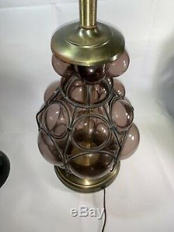 Vintage Murano Caged Glass Table Lamp Light Purple