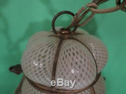 Vintage Murano Caged Hanging Lamp Pendant
