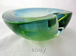 Vintage Murano Cenedese baby blue acid green glowing sommerso art glass bowl UV