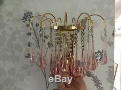 Vintage Murano Chandelier & Wall Light Rose pink glass teardrops Rare SET