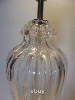 Vintage Murano Clear Ribbed Glass Crystal Table Lamp MID Century Design