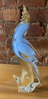 Vintage Murano Cockatoo Venetian Art Glass Bird Sculpture Blue Gold Aventurine