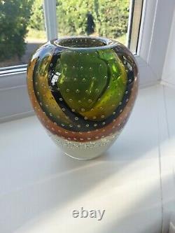 Vintage Murano / Czech Sommerso Bullicante Art Glass Vase