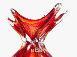 Vintage Murano Deep Red Orange Electric Blue 6 Wing Art Glass Lobed Dish