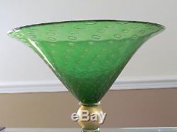 Vintage Murano Emerald Art Glass Vase by V. Nason & C. Italy c. 1970 Signed $2,000