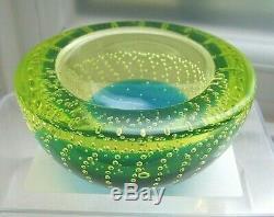 Vintage Murano FERRO vivid uranium & blue sommerso bullicante glass geode bowl