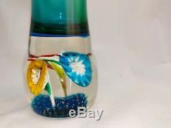 Vintage Murano Fratelli Torso Sommerso Vase Floral Trumpet Flower Canes bubbles