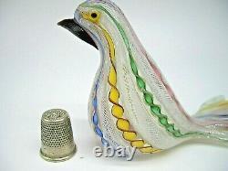Vintage Murano Fratelli Toso latticino zanfirico gold aventurine glass bird dove