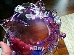 Vintage Murano Freeform Art Glass Alexandrite Lilac Petal Bowl
