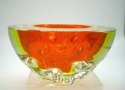Vintage Murano Galliano FERRO millebolle dimpled divot uranium glass geode bowl