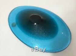 Vintage Murano Galliano Ferro Italy 2 Tone Aqua Blue Art Glass Oval Dish Plate