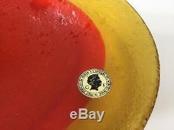 Vintage Murano Galliano Ferro Italy 2 Tone Orange Art Glass Oval Dish Plate