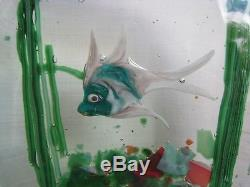 Vintage Murano Glass Aquarium Fish Tank Paperweight