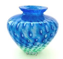 Vintage Murano Glass Blue/Green Bullicante Cluthra Hand Blown Art Glass Vase