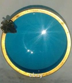 Vintage Murano Glass Blue Milk Glass Blue Delphite Opline Brass Ashtray