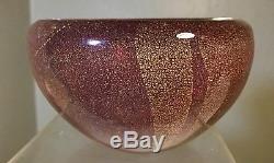 Vintage Murano Glass Bowl Rosso Pulegoso Barovier Seguso Ferro Acid Signed 1936