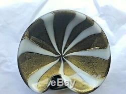 Vintage Murano Glass Circus Tent Barbini Rays Gold Swirl Cigar Ashtray Bowl