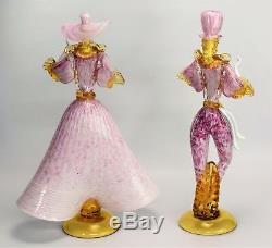 Vintage Murano Glass Dancer figurines Pink swirl color Venetian glass 14