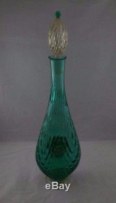 Vintage Murano Glass Decanter And Stopper With Applied Lion Head And Berries