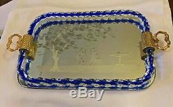 Vintage Murano Glass Etched Mirror Tray Cobalt Rope Sides & Gilt Handles